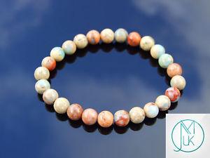 【送料無料】ブレスレット アクセサリ― アクアテラジャスパーブレスレットaqua terra jasper natural gemstone bracelet 69 elasticated healing stone