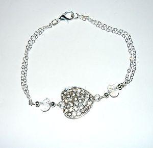 【送料無料】ブレスレット アクセサリ― ハートセンターチェーンブレスレットsparkly heart pretty fine chain bracelet with a sparkly heart centre
