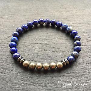 【送料無料】ブレスレット アクセサリ― ラピスラズリパイライトブレスレットヘマタイトスペーサーミリビーズストレッチフィットlapis lazuli pyrite bracelet hematite spacers 6mm natural stone bead stretch fit