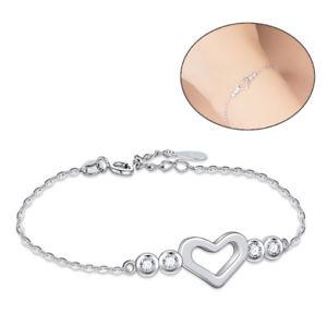 【送料無料】ブレスレット アクセサリ― スターリングシルバーラウンドクリアハートペンダントチェーンブレスレットcharm 925 sterling silver round clear cz heart pendant chain bracelet womens