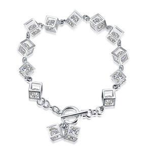 【送料無料】ブレスレット アクセサリ― ブレスレットシルバージルコンクリアスクエアwoman bracelet hand chain silver square with clear zircon gift de