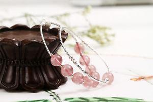 【送料無料】ブレスレット アクセサリ― スターリングシルバービーズブレスレット925 sterling silver natural red ice strawberry quartz crystal beads bracelet 95