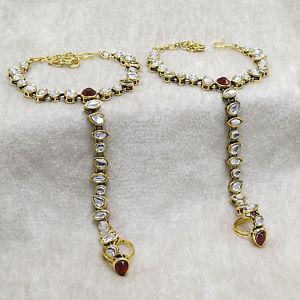 【送料無料】ブレスレット アクセサリ― goldtoneチェーンブレスレットhaath phoolジュエリーgoldtone traditional hand slave elegant chain bracelet women haath phool jewelry