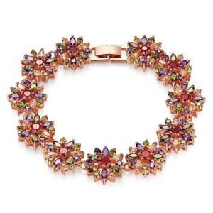 【送料無料】ブレスレット アクセサリ― カラフルローズゴールドメッキブレスレットthe colorful cz flower rose gold plated charm bracelet b01