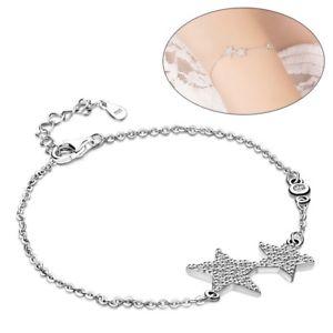 【送料無料】ブレスレット アクセサリ― スターリングシルバークラスターペンダントチェーンブレスレット925 sterling silver clear cz cluster stars pendant chain bracelet for womens