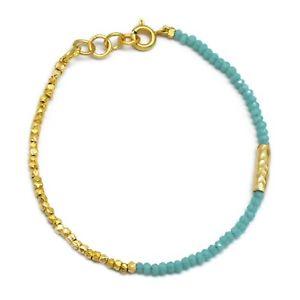 【送料無料】ブレスレット アクセサリ― アクアkイエローゴールドメッキビーズブレスレットhammered aqua chalcedony gemstone 22k yellow gold plated beaded bracelets