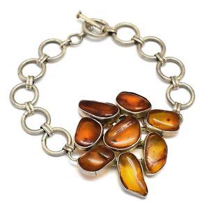 【送料無料】ブレスレット アクセサリ― スターリングシルバーユニークデザインオレンジブレスレット925 sterling silver handmade unique design amber gemstone bracelets jewelry