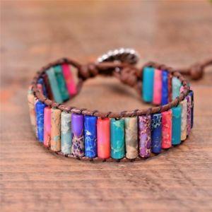 【送料無料】ブレスレット アクセサリ― ユニークチューブビーズブレスレットハンドメイドunique tube shape natural beaded single leather wrap bracelets handmade jewelry