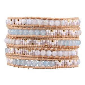 【送料無料】ブレスレット アクセサリ― ラップブレスレットチェーンヒスイシードビーズkelitch handwoven jade seed beads on leather charm 5 wrap bracelet chain jewelry