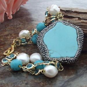 【送料無料】ブレスレット アクセサリ― ab012415 8 12mmホワイトパールトルコブレスレットab012415 8 12mm white pearl turquoise bracelet