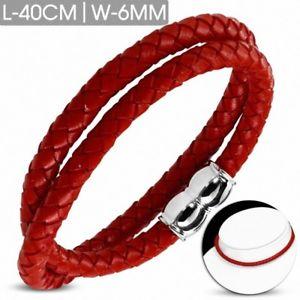 【送料無料】ブレスレット アクセサリ― ブレスレットレッドレザーマグネットカバーbracelet made of red leather braided and magnetic closure 15 34in x 0 14in