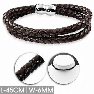 【送料無料】ブレスレット アクセサリ― ブレスレットブラウンbracelet brown leather braided double strand 17 2332in x 0 14in