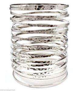 【送料無料】ブレスレット アクセサリ― ブレスレットカフフリー hammered springy bracelet women cuff 4 tall silver plated lead free