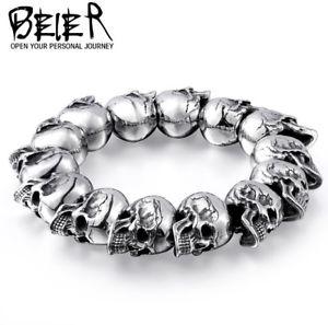 【送料無料】ブレスレット アクセサリ― クールファッションパンクパーソナライズビンテージチタンスカルブレスレットcool fashion punk personalized vintage 316l titanium steel devil skull bracelet