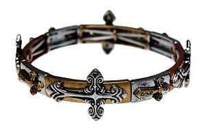 【送料無料】ブレスレット アクセサリ― シルバートーンクロスストレッチブレスレットsilver tone amp; copper color cross stretch bracelet
