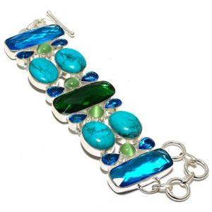 【送料無料】ブレスレット アクセサリ― サンタローザトルコ7ブレスレット8b7699natural santa rosa turquoise,green cats eye gemstone bracelet 78b7699