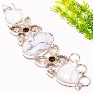 【送料無料】ブレスレット アクセサリ― ホワイトトパーズスモーキークオーツエスニックファッションジュエリーブレスレットhowlite, white topaz, smokey quartz ethnic fashion jewelry bracelet 78 sb387