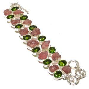 【送料無料】ブレスレット アクセサリ― ゴージャスチェリークオーツペリドットハンドメイドジュエリーブレスレットgorgeous cherry quartz amp; peridot gemstone handmade jewelry bracelet 78
