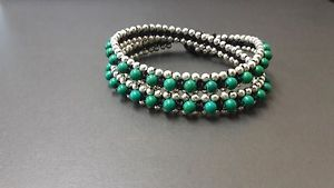 【送料無料】ブレスレット アクセサリ― グリーンシルバーラップブレスレットgreen silver wrap bracelet