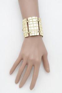 【送料無料】ブレスレット アクセサリ― ブレスレットボヘミアwomen shiny gold metal fancy wide plates fashion bracelet bulky ethnic bohemian