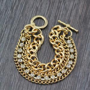 【送料無料】ブレスレット アクセサリ― kゴールドメッキファッションクリスタルソリッドチェーンブレスレットwomens 18k gold plated fashion crystal 10mm solid curb chain charm bracelet 8