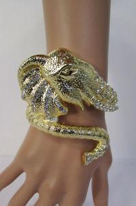 【送料無料】ブレスレット アクセサリ― ブレスレットファッションビッグゴールドエレファントヘッドカフシルバービーズ women bracelet fashion big gold metal elephant head cuff silver bling beads