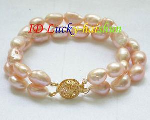 【送料無料】ブレスレット アクセサリ― バロックピンクブレスレットgenuine 8 2row 12mm baroque pink freshwater pearls bracelet j8603