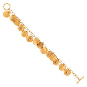 【送料無料】ブレスレット アクセサリ― ハンドメイドkゴールドメッキコインチェーンラウンドブレスレットファッションカットhandmade 18k gold plated coin charms chain round cut cz bracelet fashion jewelry