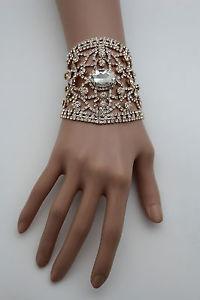 【送料無料】ブレスレット アクセサリ― チェーンブレスレットwomen gold metal chains bracelet silver rhinestones bridal wedding wrist jewelry