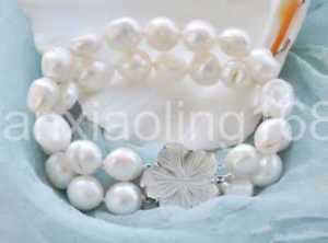 【送料無料】ブレスレット アクセサリ― ホワイトバロックブレスレット2row 8 13mm white baroque freshwater pearl bracelet