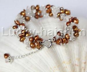 【送料無料】ブレスレット アクセサリ― バロックコーヒーホワイトクリスタルブレスレットgenuine adjustable 79 baroque cee pearls white crystal bracelet j11877