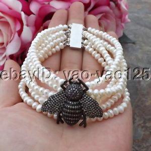 【送料無料】ブレスレット アクセサリ― ストランドホワイトパールブレスレットk083012 6 strands 8 white pearl cz pave bee bracelet