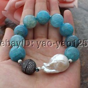 【送料無料】ブレスレット アクセサリ― ホワイトパールブレスレットk061112 8 16mm blue agate white keshi pearl bracelet