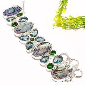 【送料無料】ブレスレット アクセサリ― アワビシェルアパタイトブレスレットabalone shell, apatite gemstone fashion jewelry bracelet 78 sb1218