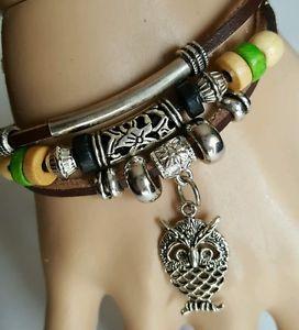 【送料無料】ブレスレット アクセサリ― シルバーフクロウブレスレットビーズアメリカsilver owl brown shamballa bracelet adjustable wood beads leather usa seller