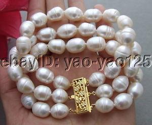 【送料無料】ブレスレット アクセサリ― ホワイトライスパールブレスレットr101213 3strds 12mm white rice pearl bracelet