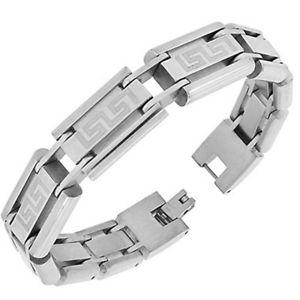 【送料無料】ブレスレット アクセサリ― ステンレスギリシャリンクチェーンmensブレスレットstainless steel silvertone greek key link chain mens bracelet