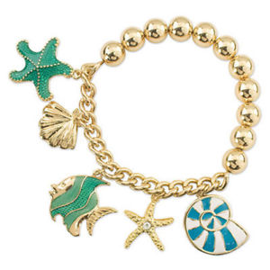 【送料無料】ブレスレット アクセサリ― ゴールドエナメルヒトデブレスレットperiwinkle by barlow gold enamel fish starfish seashell charm bracelet