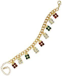 【送料無料】ブレスレット アクセサリ― チャータークラブゴールドトーンクリスタルクリスマスブレスレットcharter club gold tone colored crystal christmas gift charm bracelet nwt j1
