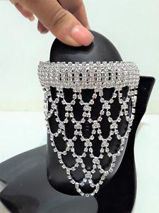 【送料無料】ブレスレット アクセサリ― ラインストーンカフスブレスレットcrystal rhinestone silver clear triangle upper arm cuff bracelet draped fringe