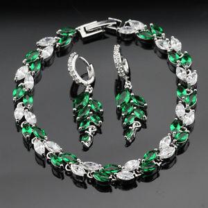 【送料無料】ブレスレット アクセサリ― エメラルドトパーズスターリングセットイアリングブレスレットgreen emerald topaz sterling silver sets drop earrings bracelet