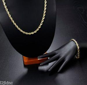【送料無料】ブレスレット アクセサリ― メンズkゴールドメッキインチヒップホップロープチェーンブレスレットmens 14k gold plated 20 inch 6mm hiphop dookie rope chain amp; bracelet set