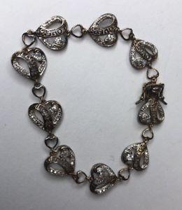 【送料無料】ブレスレット アクセサリ― リンクブレスレット925czスターリングlove heart link bracelet 925 cz sterling silver