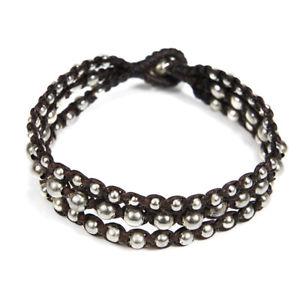 【送料無料】ブレスレット アクセサリ― トリプルストランドシルバービーズブラウンロープブレスレットtriple strand galore silver beads brown cotton rope bracelet