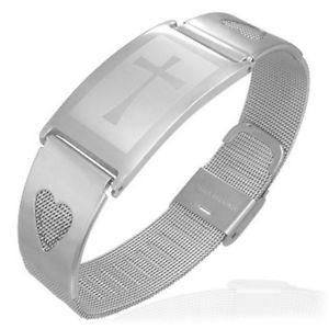 【送料無料】ブレスレット アクセサリ― ステンレスクロメッシュwomensブレスレットstainless steel cross love heart chastity mesh silver tone womens bracelet