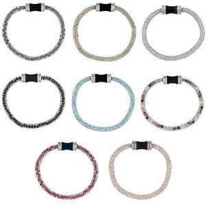 【送料無料】ブレスレット アクセサリ― ステンレススチールメッシュブレスレットクラスプstainless steel mesh bracelet w magnetic clasp and colored crystals