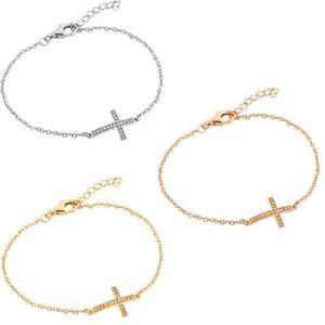 【送料無料】ブレスレット アクセサリ― ブレスレットクロスsterling silver charm bracelet w sideways cz stones cross