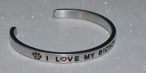 【送料無料】ブレスレット アクセサリ― ハンドメイドブレスレットi love my bichon frise  handmade amp; polished bracelet