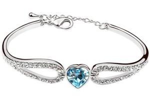 【送料無料】ブレスレット アクセサリ― ホワイトゴールド×ブレスレットホットセールwhite gold filled heart crystal wedding bracelet hot for women 50*43cm