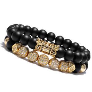 【送料無料】ブレスレット アクセサリ― マイクロボールクラウンブレスレットマットビーズ luxury micro pave cz ball crown charm bracelet men jewelry matte agate bead